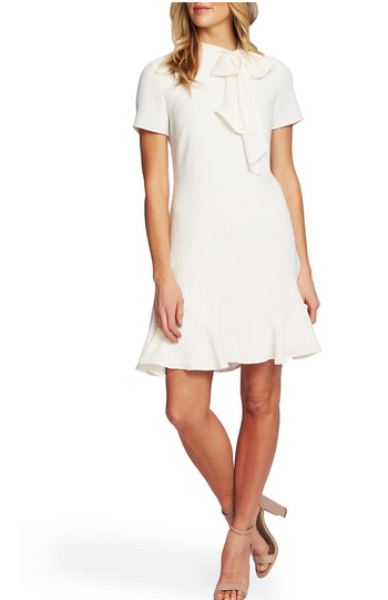 Cece Bow Neck Short Sleeve Dress