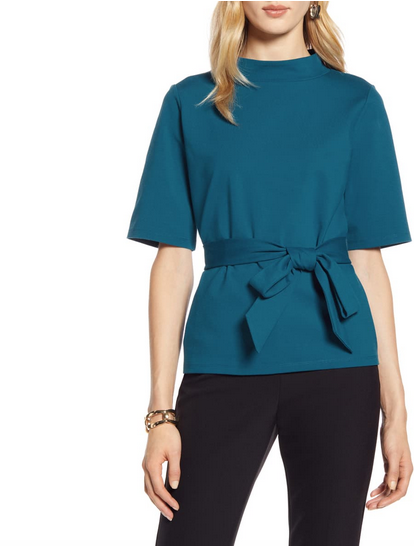 Halogen® Mock Neck Tie Waist Top