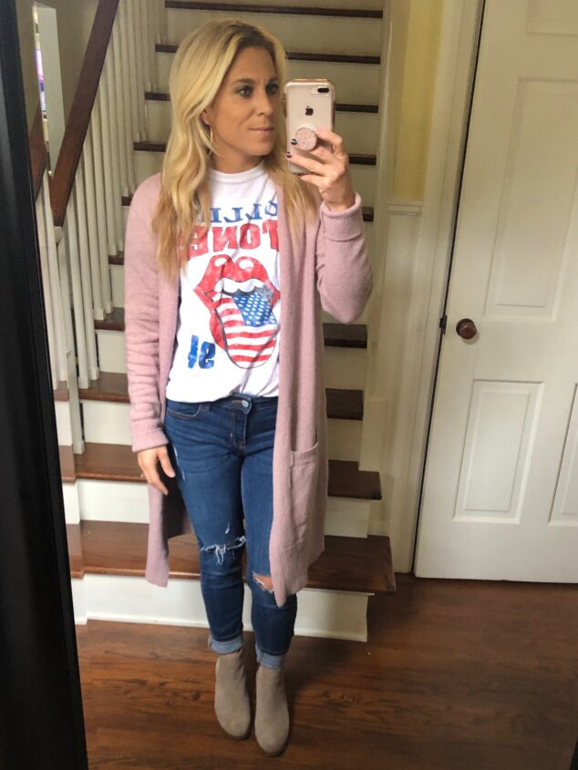 Pink Cardigan Sweater Style