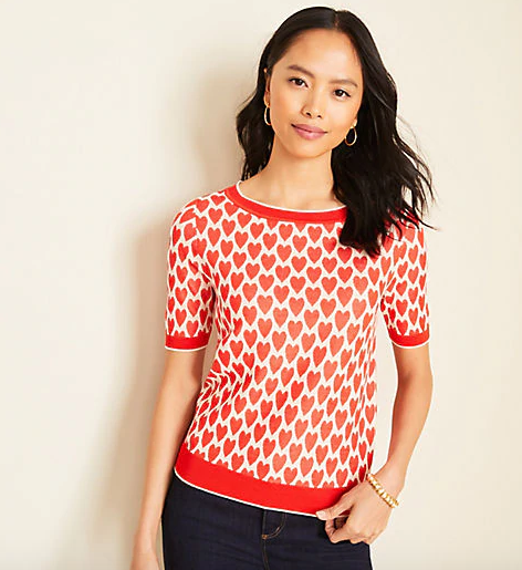 Heart Short Sleeve Sweater