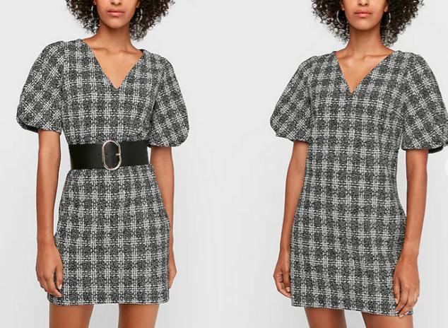 Express Dresses - jacquard puff sleeve mini shift dress