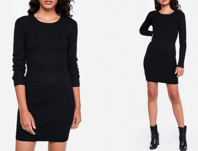 ribbed long sleeve fitted sweater dress