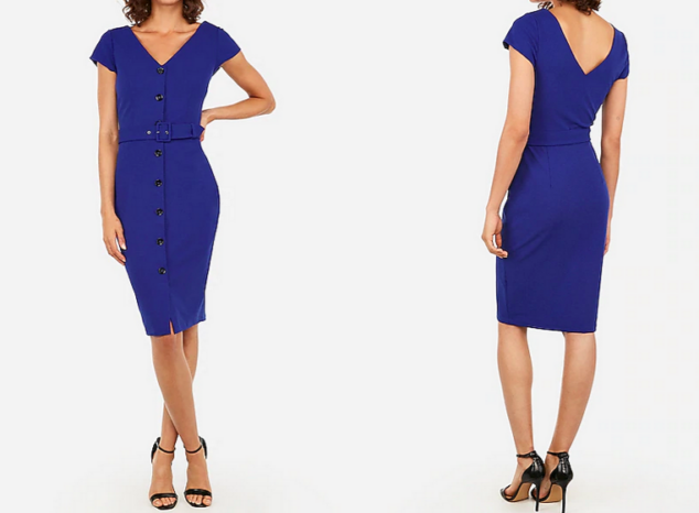 express dresses - belted button front sheath dress