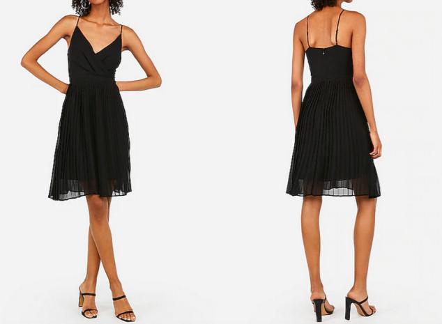 express dresses - pleated surplice front midi dress