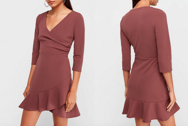 express dresses - wrap front ruffle hem fit and flare dress