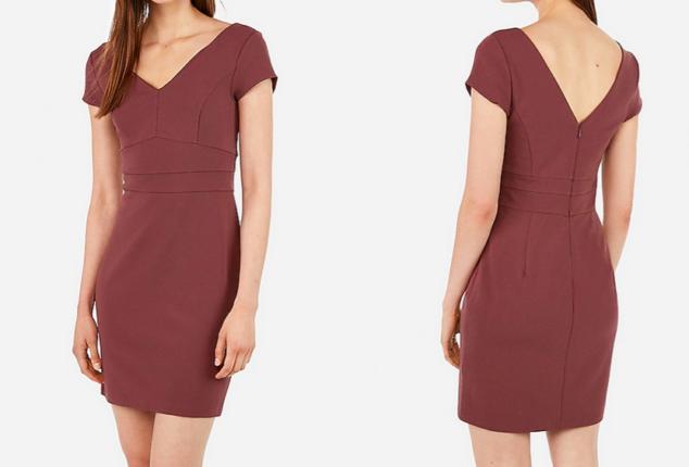 double v seamed mini sheath dress