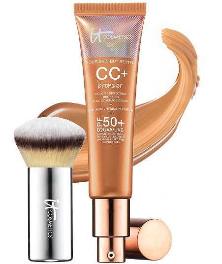 Liquid Bronzer - IT Cosmetics CC Cream Physical SPF 50 Bronzer with Luxe Buki Brush