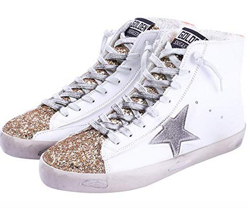 Women's Flat Sneakers High Top Glitter Fashion Star Lace up Casual Shoes