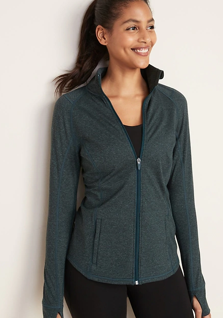 Fitted Soft-Brushed Performance Zip Jacket for Women