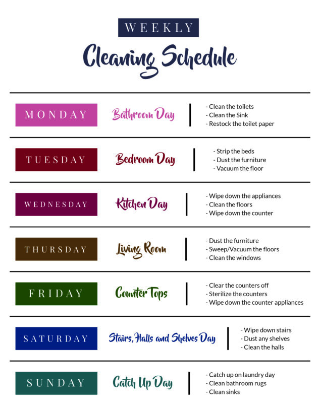 Home Cleaning Weekly Cleaning Routine Schedule