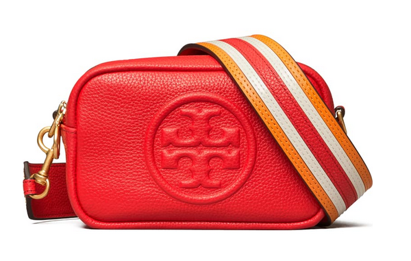 Tory Burch Mini Perry Bombe Leather Crossbody Bag