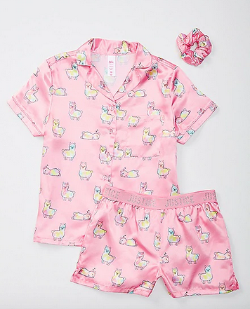 llama Silky Button Up Pajama Set