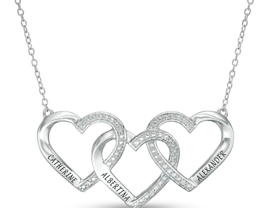 Mother's Diamond Accent Beaded Engravable Interlocking Hearts Trio Necklace in Sterling Silver