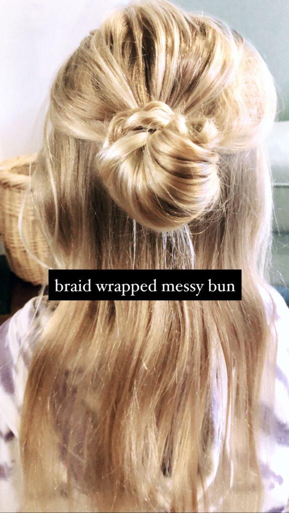 Braid wrapped bun 1/2 updo