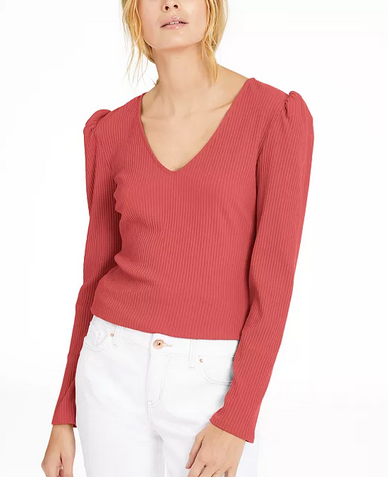 INC International Concepts INC Ribbed Puff-Sleeve Top