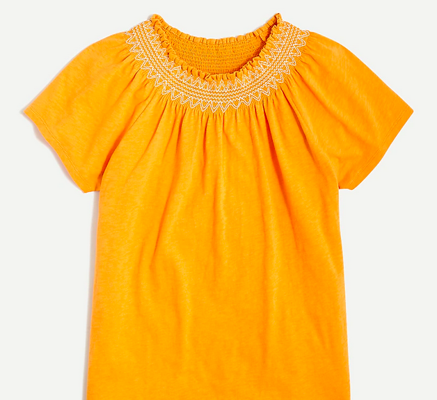 Embroidered smocked-neck tee