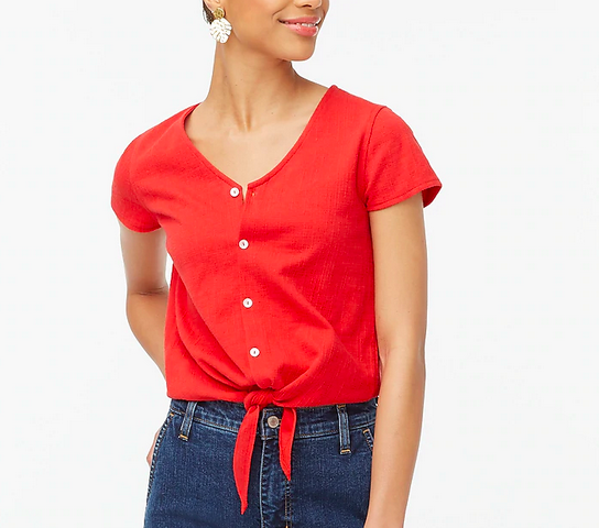 J.Crew Textured tie-front top