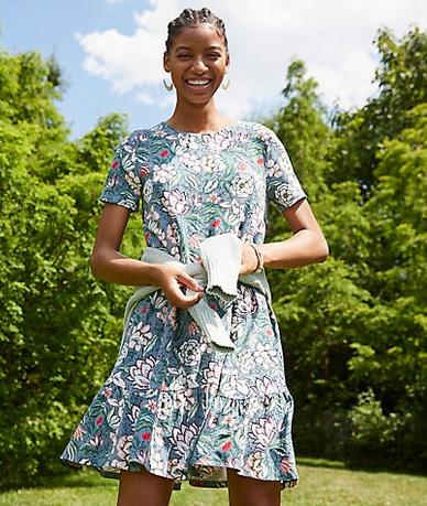 Floral Flounce Swing Dress