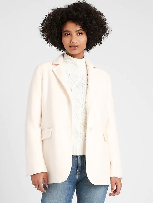 Unlined Double-Faced Blazer Coat
