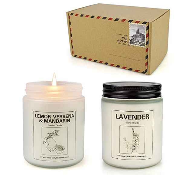 Double Gift Home Scented Candles, Aromatherapy Candles Made with Soy Wax and Essential Oil - 15Oz 50 Hours Burn Long Lasting Scented - Lavender, Lemon & Verbena