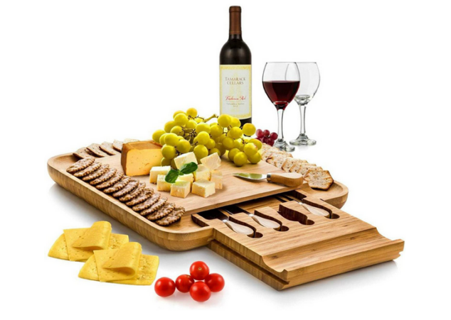Bambusi Cheese Board and Knife Set - Premium Bamboo Wood Charcuterie Platter Serving Tray with Cutlery
