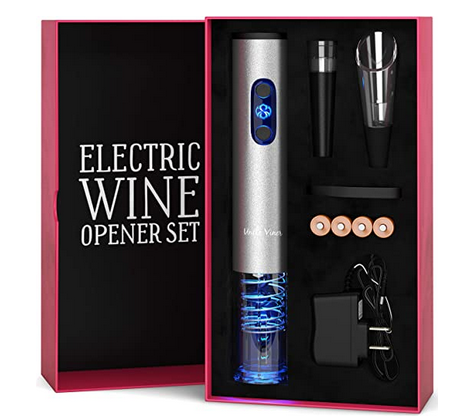 Electric Wine Opener Set with Charger and Batteries- Holiday Gift Set