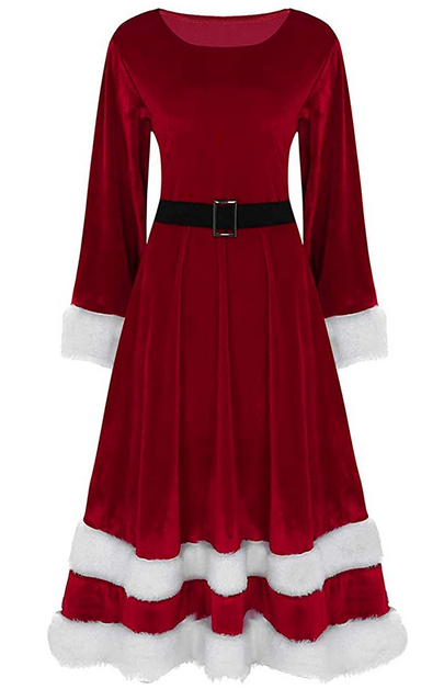 omen's Ladies Mrs Santa Claus Long Sleeve Costume