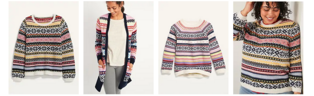 Cozy Fair Isle Blouson-Sleeve Sweater for Women
