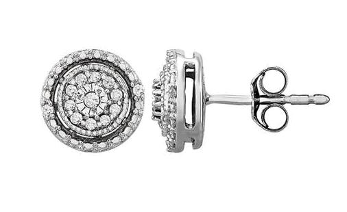 Diamond Stud Earrings in Sterling Silver