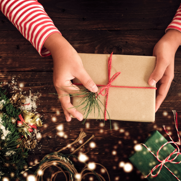 Wrapping presents at home with kids
