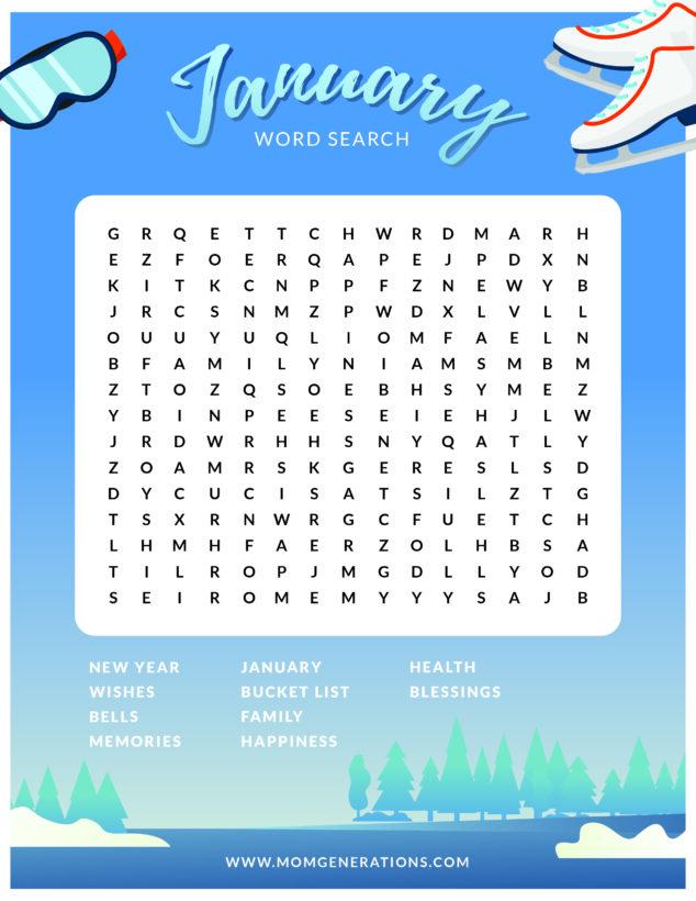 January Word Search Printable