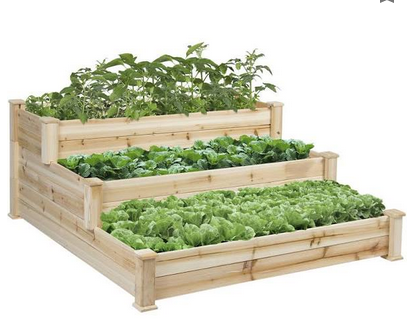 3-Tier Wooden Raised Vegetable Garden Bed Planter Kit for Outdoor Gardening