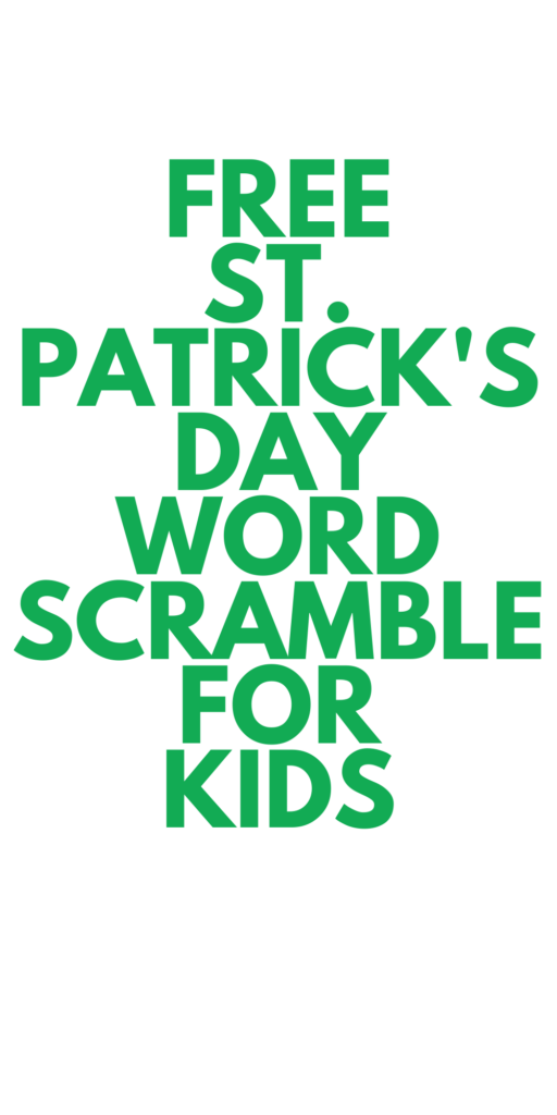 St. Patrick's Day Word Scramble for Kids