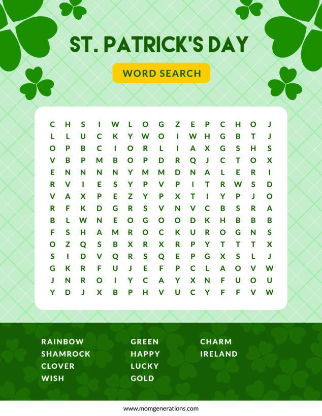 St. Patrick's Day Word Search PDF