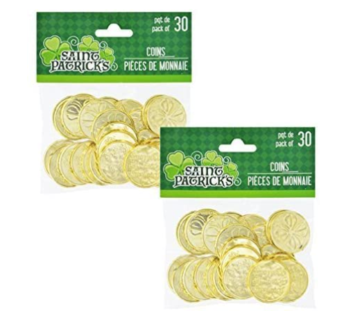 Plastic St. Patrick's Day Shamrock Coins