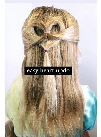 heart half up hairstyle
